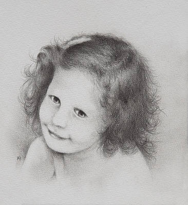 Strawberries Drawing - Young Girl by Rachel Christine Nowicki
