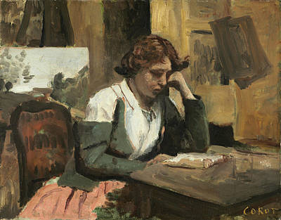 Sitting Painting - Young Girl Reading by Camille Corot