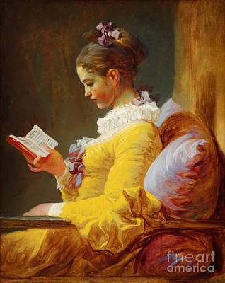 Young Girl Reading Art Print by Celestial Images