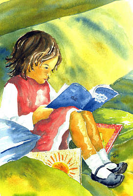 Wall Art - Painting - Young Girl Reading by Cheryl Bishop