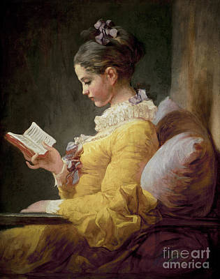 Female Portrait Painting - Young Girl Reading by JeanHonore Fragonard