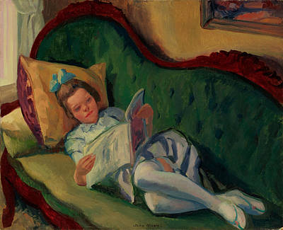 Chaise Longue Painting - Young Girl Reading by John Sloan