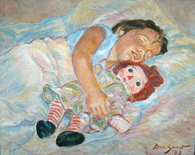 Raggedy Ann Painting - Young Girl Sleeping With Raggedy Ann Doll by Don Snow