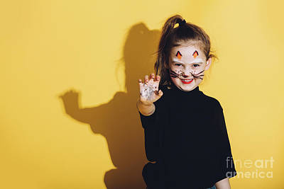 Photograph - Young Girl With Cat Makeup On Her Face. by Michal Bednarek