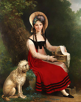 Dog In Landscape Painting - Young Girl With Poodle On A Grassy Bank by Mountain Dreams