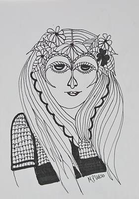 Drawing - Young Girl - Zentangle by Maria Urso