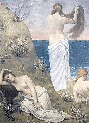 Young Girl Nude Painting - Young Girls At The Seaside by Pierre Puvis de Chavannes