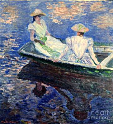 In A Row Mixed Media - Young Girls In A Row Boat by Monet