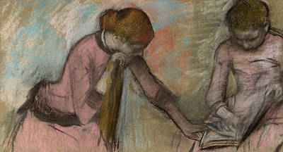 Degas Drawing - Young Girls Looking At An Album by Edgar Degas