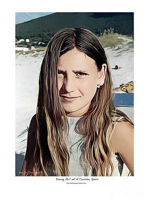 Digital Art - Young Girl, Spain by Kenneth De Tore
