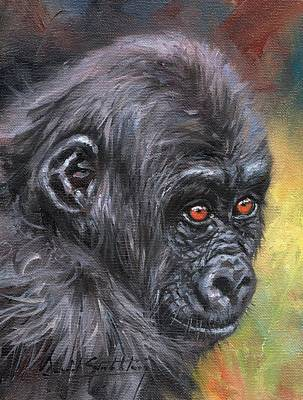 Painting - Young Gorilla Portrait by David Stribbling