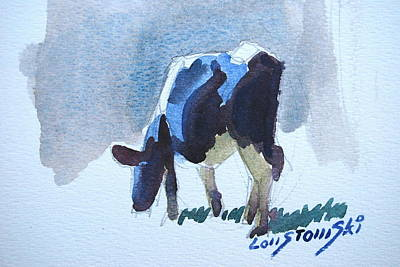 Painting - Young Grazing Cow by Len Stomski