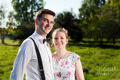 Young Happy Couple In Love Portrait In Summer Park Art Print