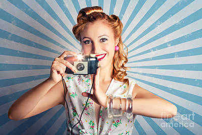 Snap Photograph - Young Happy Vintage Woman With Old Film Camera by Jorgo Photography - Wall Art Gallery