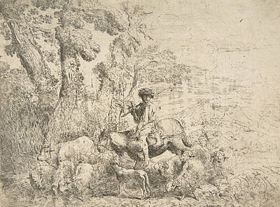 Relief - Young Herdsman On Horseback by Giovanni Benedetto Castiglione