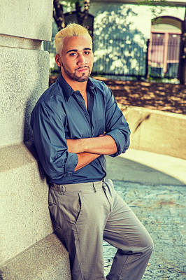 Photograph - Young Hispanic American Man Relaxing Outside by Alexander Image