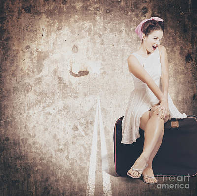 Photograph - Young Hitchhiking Pin-up Woman On Vintage Suitcase by Jorgo Photography - Wall Art Gallery