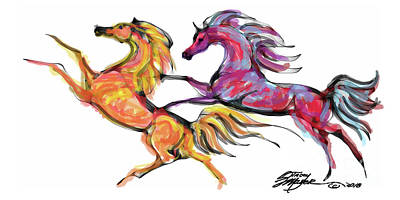 Digital Art - Young Horses Playing by Stacey Mayer
