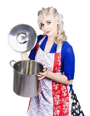 Young Housewife Lifting Lid On A Home Cooking Pot Art Print