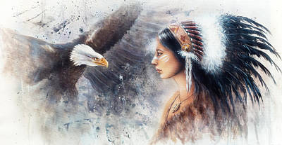 Native American Spirit Portrait Painting - Young Indian Woman Wearing A Gorgeous Feather Headdress. With An Image  Eagle Spirits by Jozef Klopacka