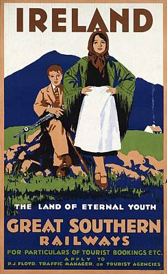 Painting - Young Irish Girl And Boy On A Meadow - Countryside - Vintage Travel Poster by Studio Grafiikka
