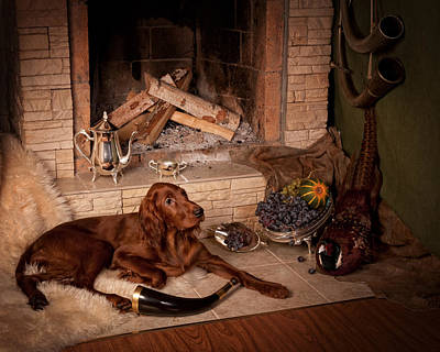 Gun Dog Painting - Young Irish Setter by Tanya Kozlovsky