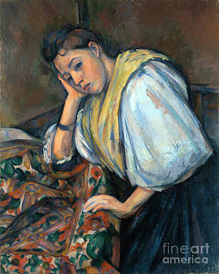 Antique Italian Oil Painting - Young Italian Woman At A Table by Cezanne