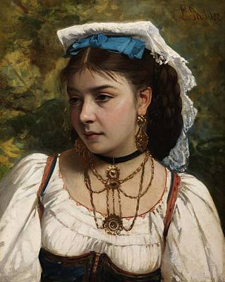 Painting - Young Italian Woman By Leonardo Gasser. by Celestial Images