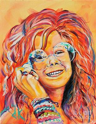 Janis Joplin Drawing - young Janis Joplin by David Keenan