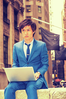 Photograph - Young Japanese Man Working On Street In New York 1504146 by Alexander Image