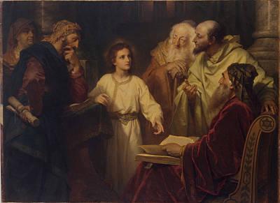 Young Jesus In The Temple Hofmann Art Print by Frans Schwartz