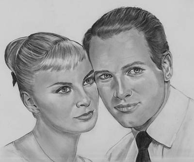 Drawing - Young Joanne And Paul by Barb Baker