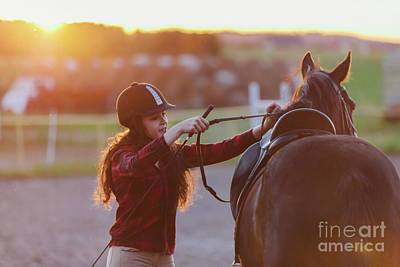Photograph - Young Jockette Preparing Her Horse For Riding. by Michal Bednarek