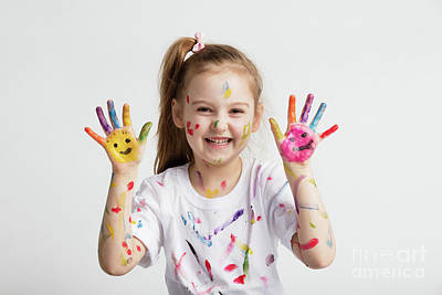 Photograph - Young Kid Showing Her Colorful Hands by Michal Bednarek