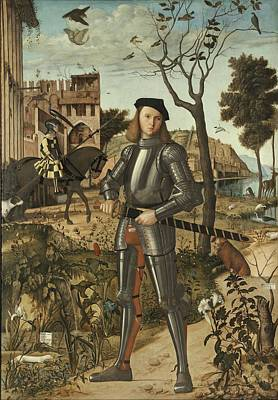 Painting - Young Knight In A Landscape 1510 By Vittore Carpaccio by Celestial Images