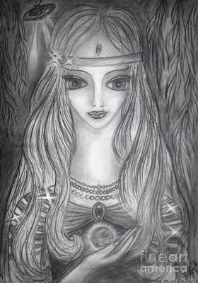 Young Lady Alien From Space. And Her Ufo Ship Art Print by Sofia Metal Queen