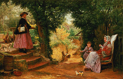 Park Scene Painting - Young Lady Bountiful by Richard Redgrave