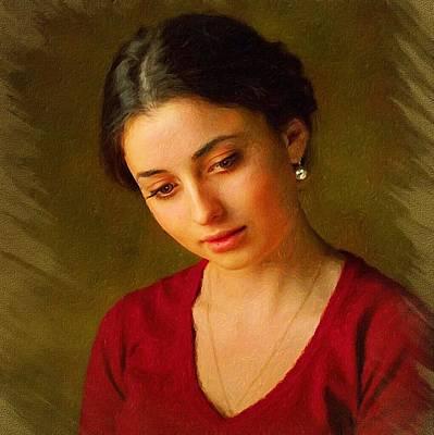 Young Lady Classic Portrait Art Print