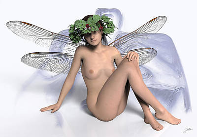 Sylph Digital Art - Young Lady Dragonfly by Joaquin Abella