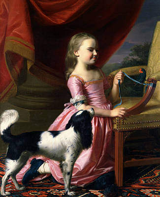 Of A Dog Painting - Young Lady With A Bird And A Dog by John Singleton Copley