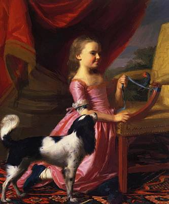 Painting - Young Lady With A Bird And Dog 1767 by Copley John Singleton