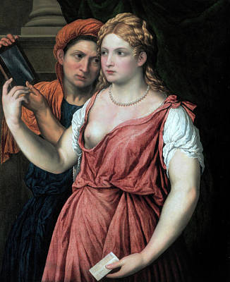 Painting - Young Lady With A Mirror And A Female Servant by Paris Bordon