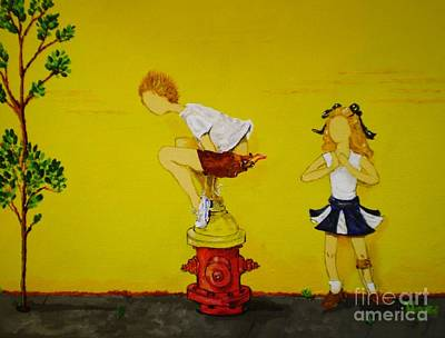 Painting - Young Love Series -  The Fire Plug by Barbara Hayes