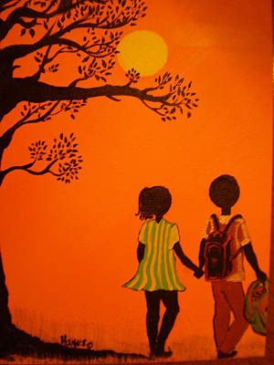 Painting - Young Love Series-the Walk Home by Barbara Hayes