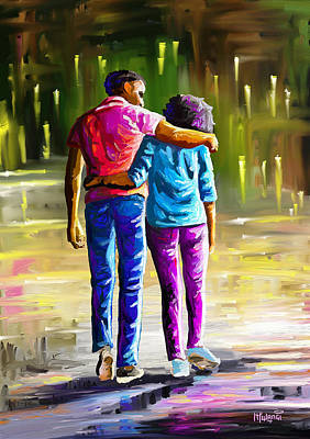 Painting - Young Lovers by Anthony Mwangi