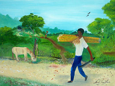 Young Man Carrying Sugarcane Art Print by Nicole Jean-Louis