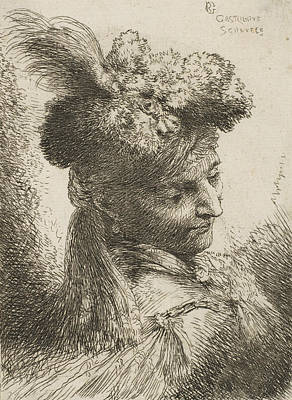 Relief - Young Man Facing Three Quaters Right Wearing A Fur Headdress With A Plume, Jewel And A Headband by Treasury Classics Art