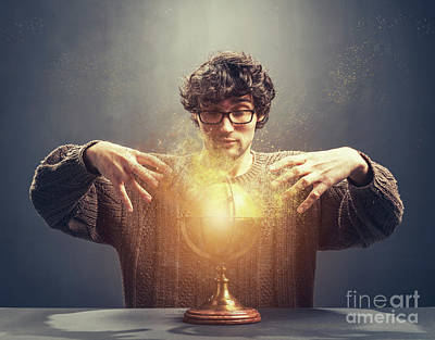 Photograph - Young Man Gazing At The Glowing Crystal Ball. by Michal Bednarek
