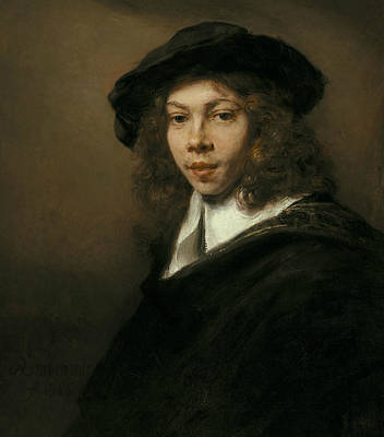 Beret Painting - Young Man In A Black Beret by Rembrandt