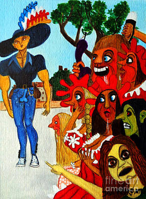 Humourous Painting - Young Man In Tight-fitting Blue Jeans by Don Pedro De Gracia